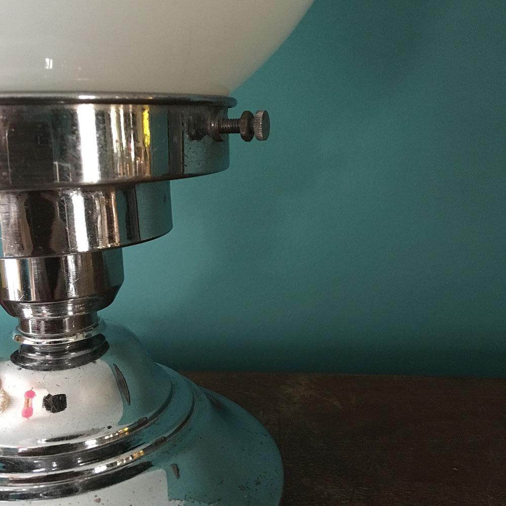 lampe boule vintage opaline