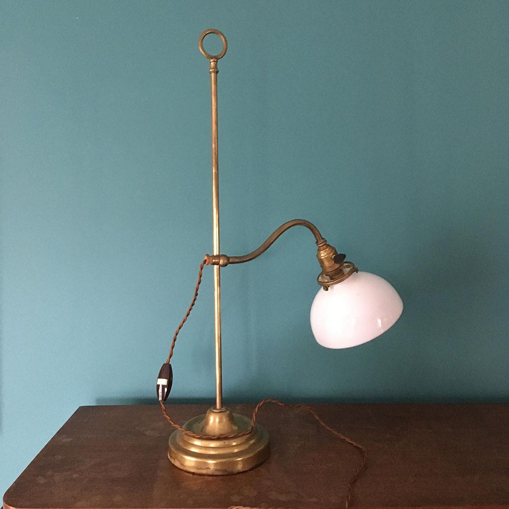 ancienne lampe opaline réglable