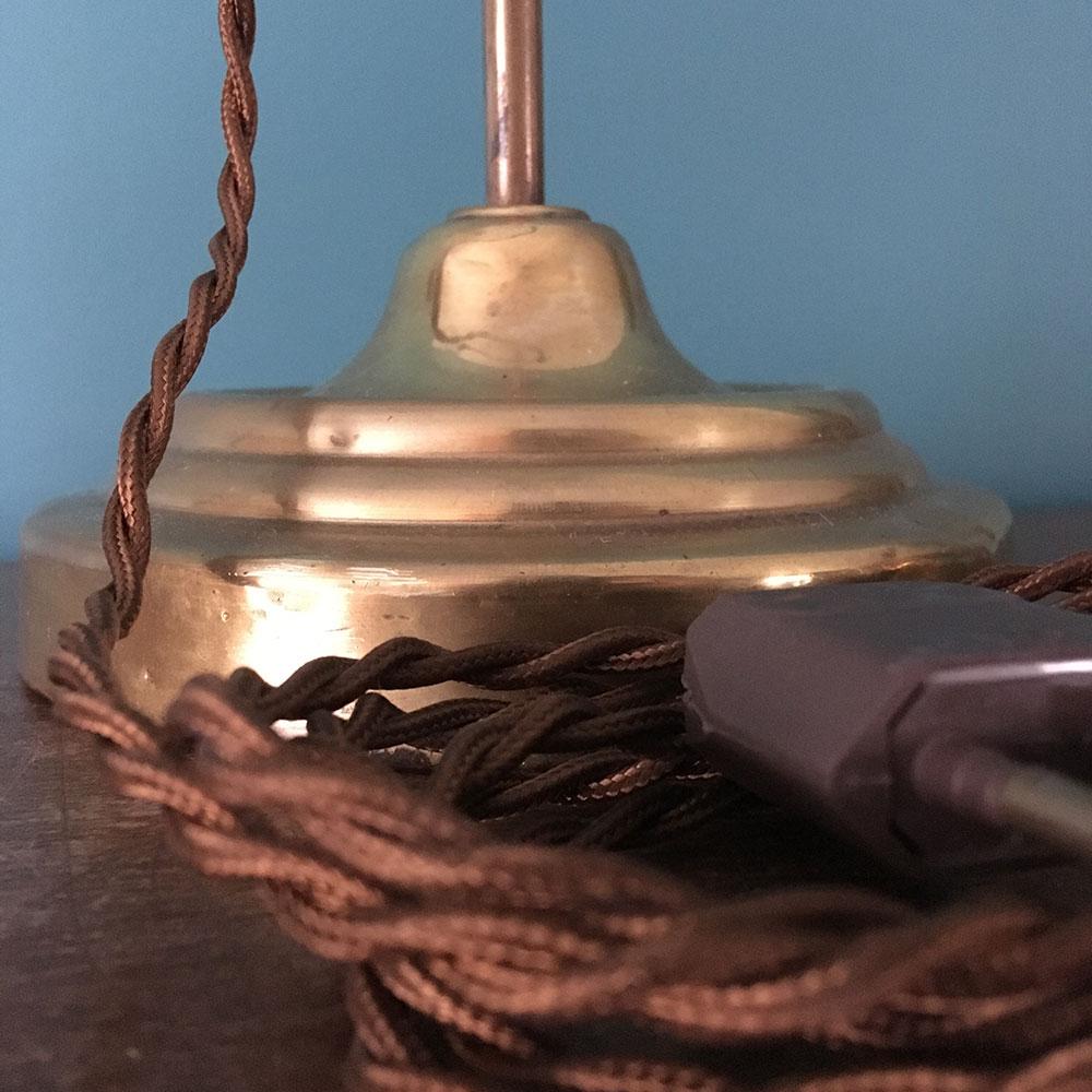 Lampe ancienne restaurée fil tissu torsadé