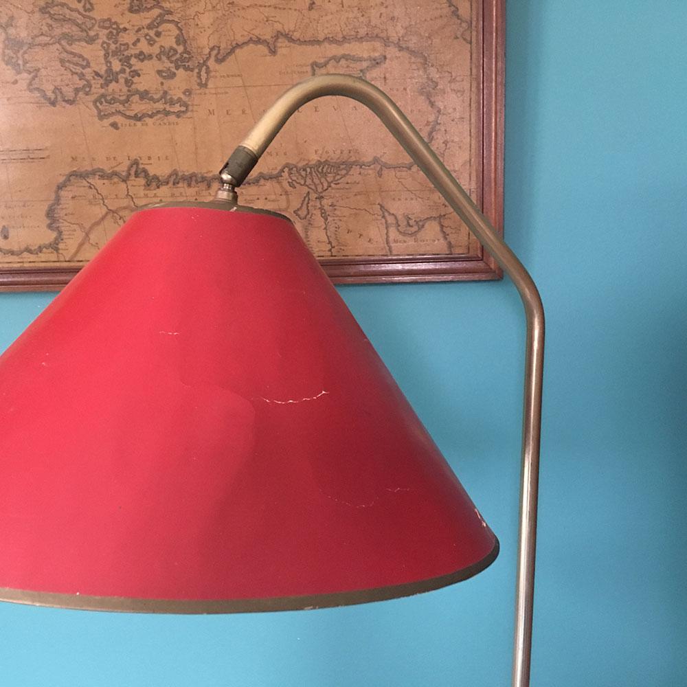 lampadaire vintage abat jour rouge