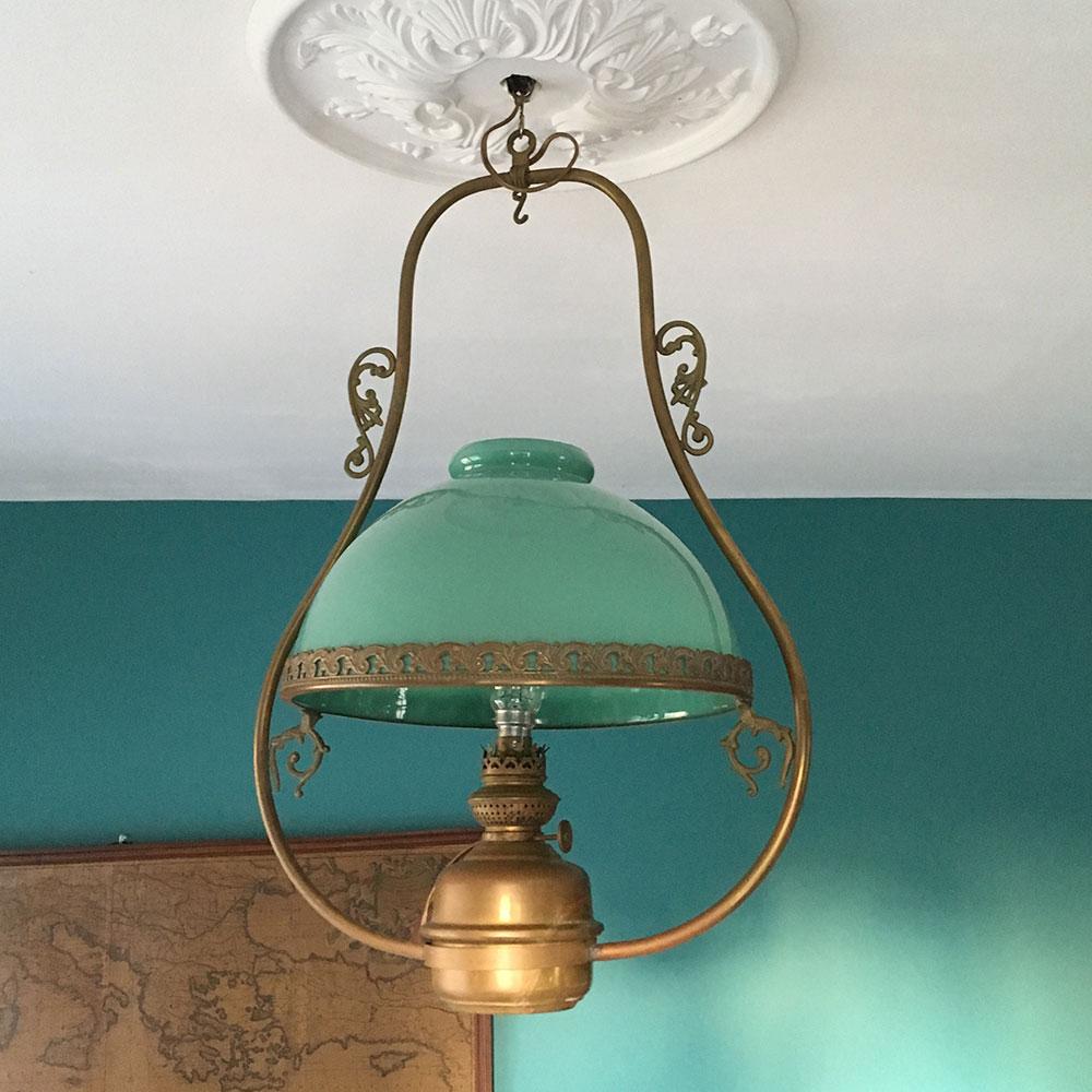 lustre ancien opaline verte