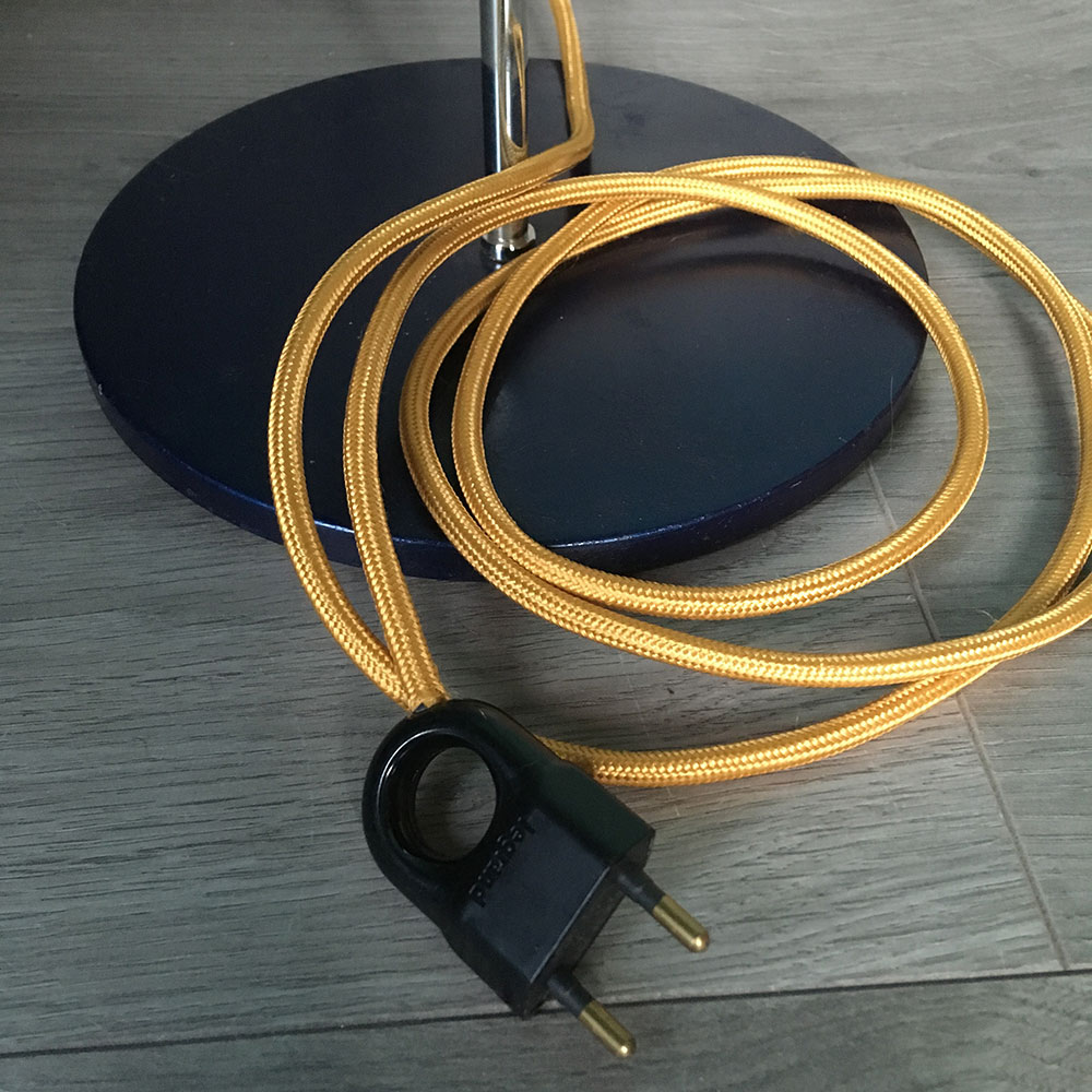 lampadaire spot fil tissu jaune