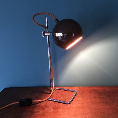 lampe vintage eyeball marron allumée