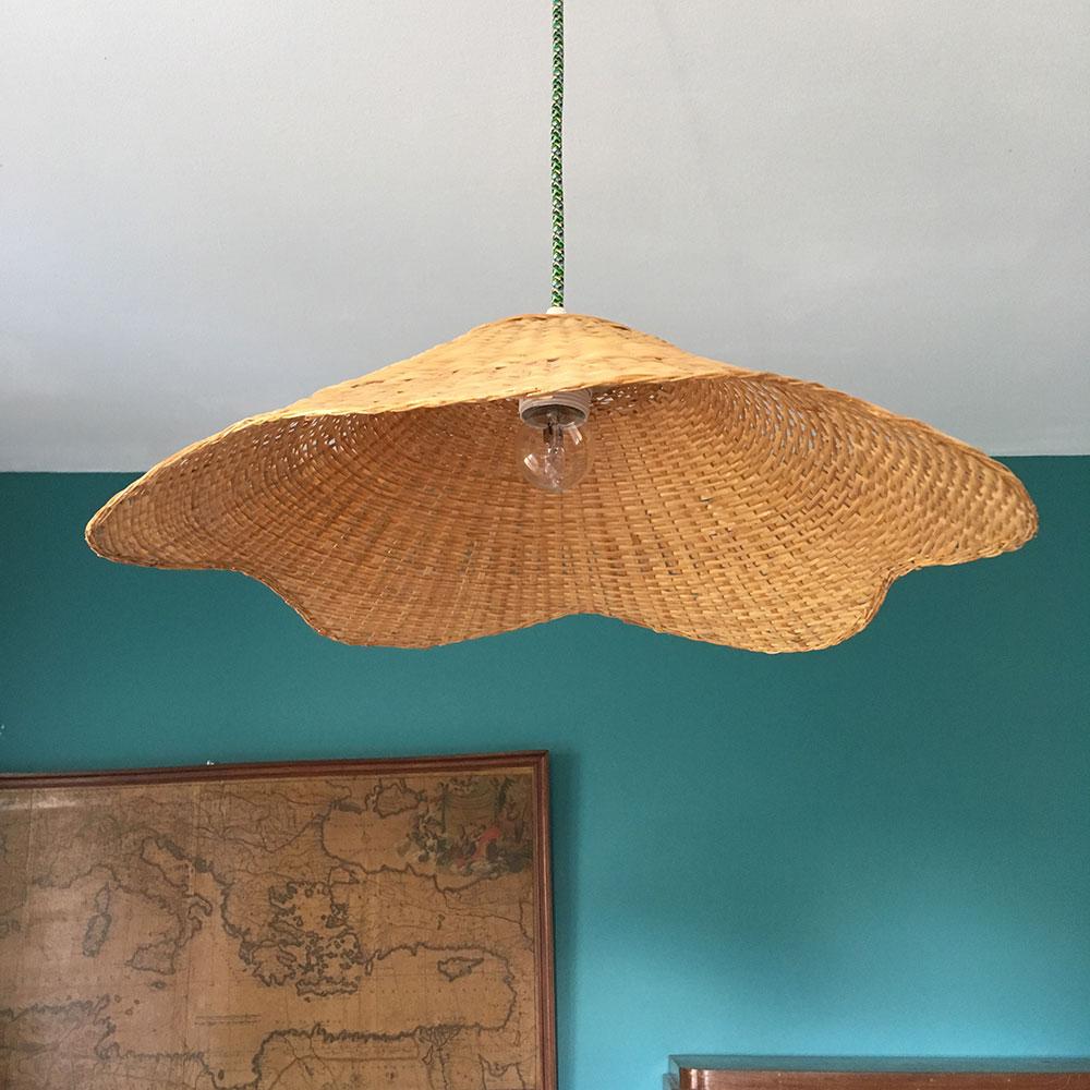 Suspension en osier style capeline | Millezime - lampe vintage