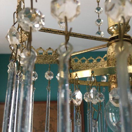 lustre ancien métal dorée pampilles