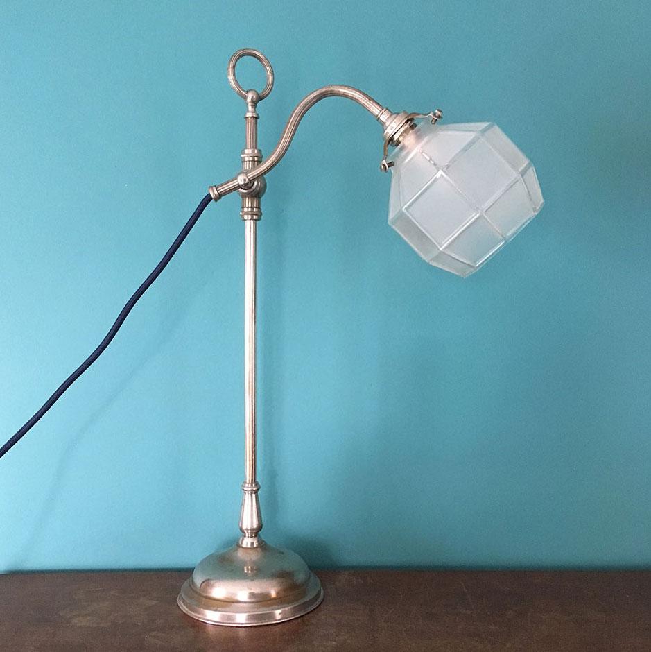 Lampe De Bureau Art Deco Articulee En Laiton Argente Millezime