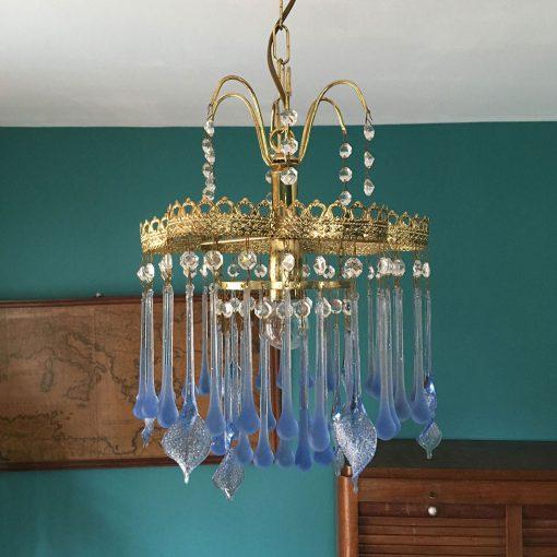 lustre-ancien-pampilles-verre-bleu
