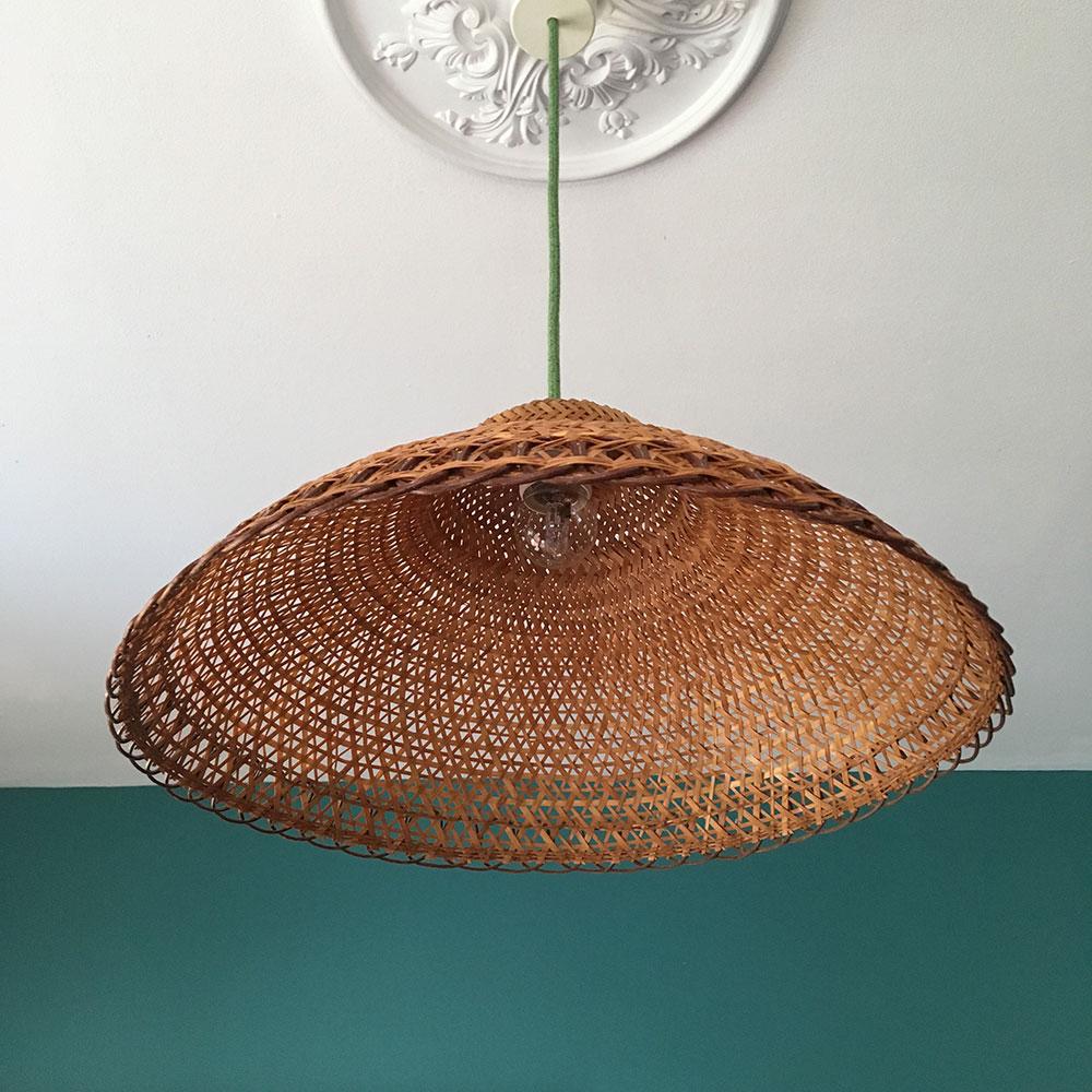 Suspension vintage en osier tressé | Millezime - lampe vintage