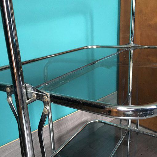 ancienne table pliante métal verre