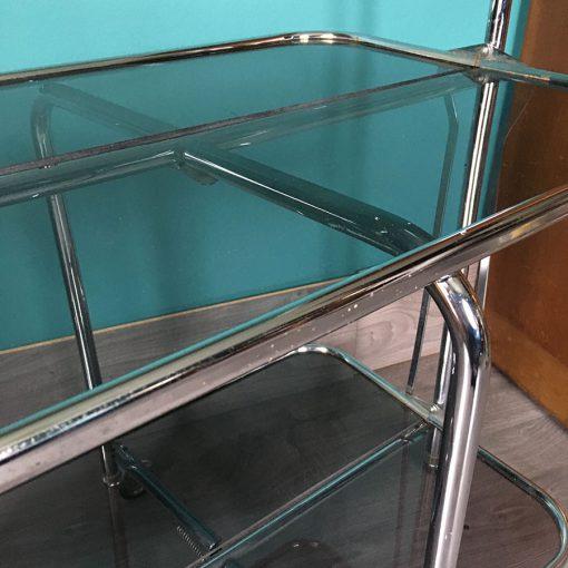 table pliante vintage metal verre