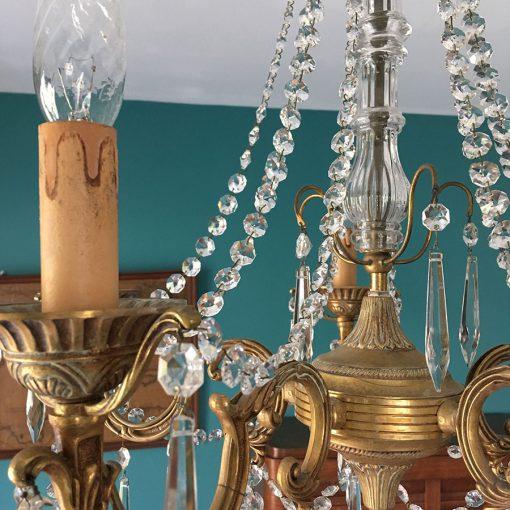 lustre pampilles cristal et laiton