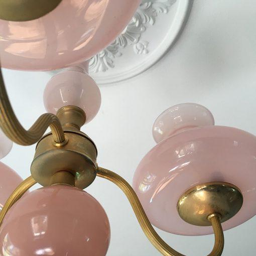 lustre ancien laiton et opaline rose