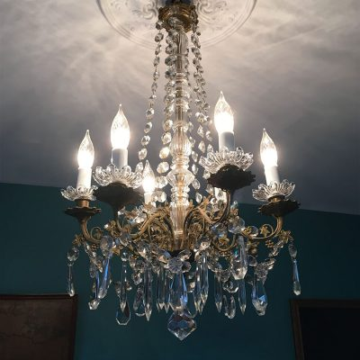 lustre pampilles blanc allume